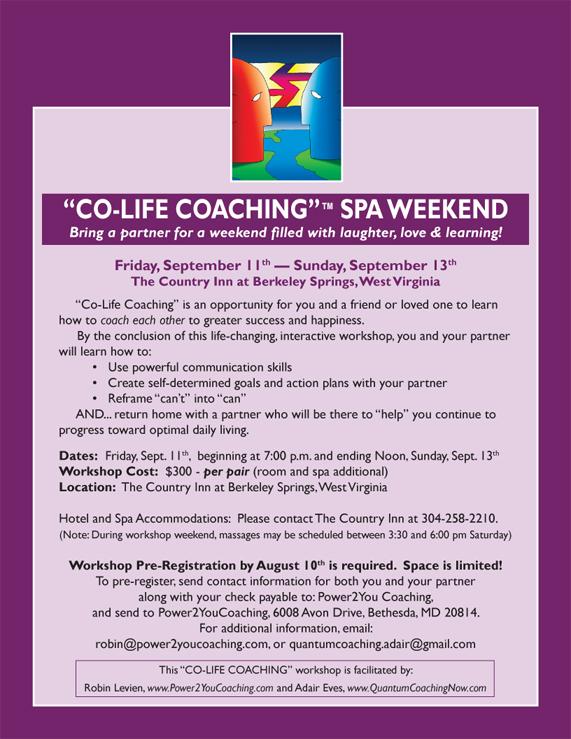 Co-Life Coaching Spa Weekend